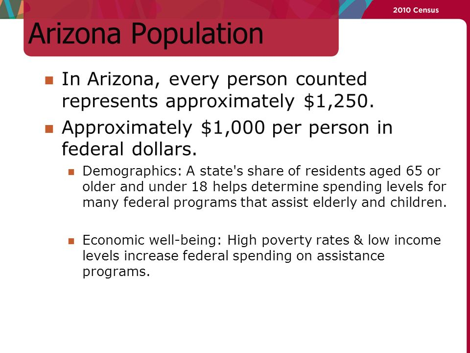Arizona Population In Arizona, every person counted represents approximately $1,250.