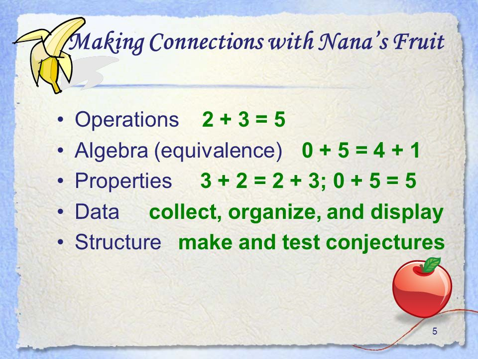 5 Making Connections with Nanas Fruit Operations = 5 Algebra (equivalence) = Properties = 2 + 3; = 5 Data collect, organize, and display Structure make and test conjectures
