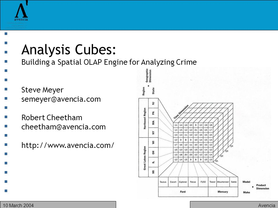 Avencia10 March 2004 Analysis Cubes: Building a Spatial OLAP Engine for Analyzing Crime Steve Meyer Robert Cheetham
