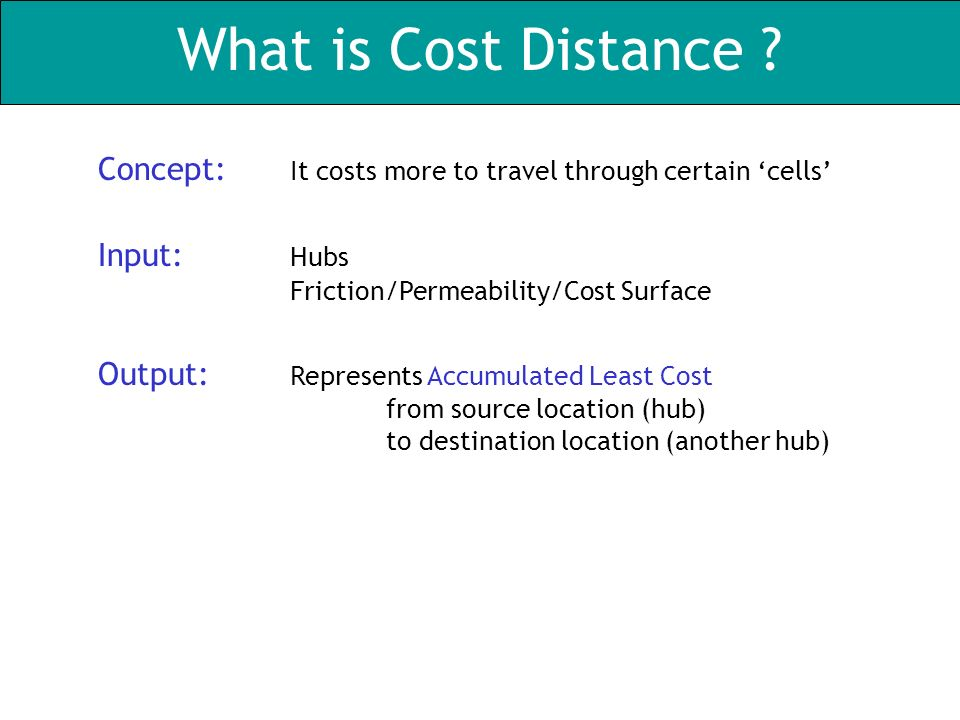 What is Cost Distance .
