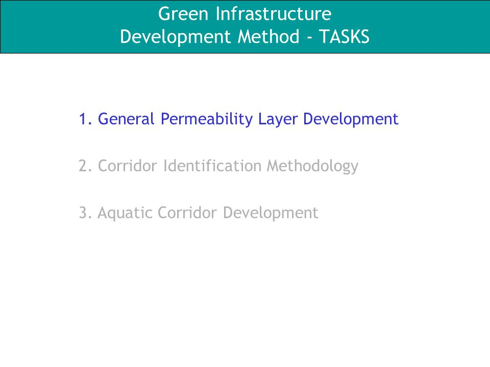 Green Infrastructure Development Method - TASKS 1.