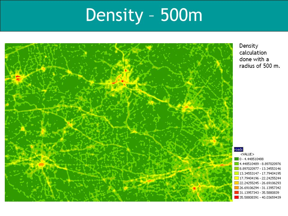 Density – 500m Density calculation done with a radius of 500 m.