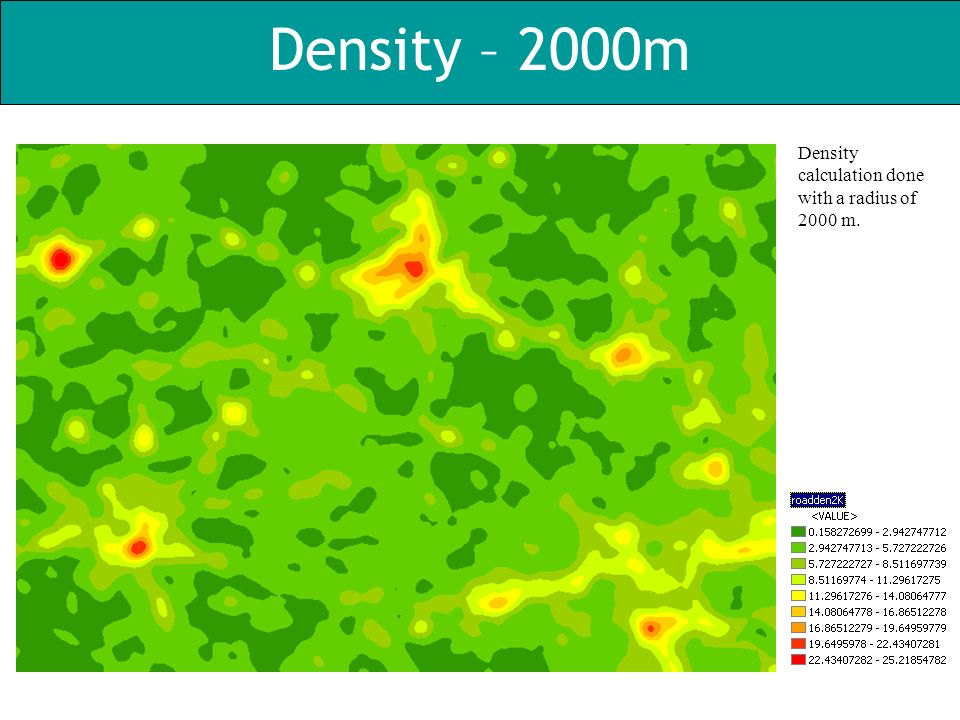 Density – 2000m Density calculation done with a radius of 2000 m.