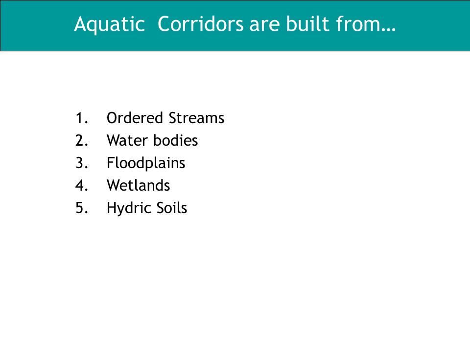 Aquatic Corridors are built from… 1.Ordered Streams 2.Water bodies 3.Floodplains 4.Wetlands 5.Hydric Soils