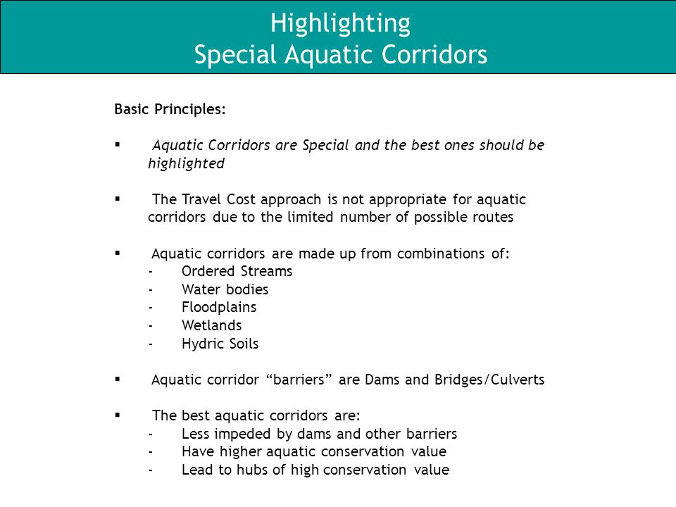 Basic Principles: Aquatic Corridors are Special and the best ones should be highlighted The Travel Cost approach is not appropriate for aquatic corridors due to the limited number of possible routes Aquatic corridors are made up from combinations of: -Ordered Streams -Water bodies -Floodplains -Wetlands -Hydric Soils Aquatic corridor barriers are Dams and Bridges/Culverts The best aquatic corridors are: -Less impeded by dams and other barriers -Have higher aquatic conservation value -Lead to hubs of high conservation value Highlighting Special Aquatic Corridors