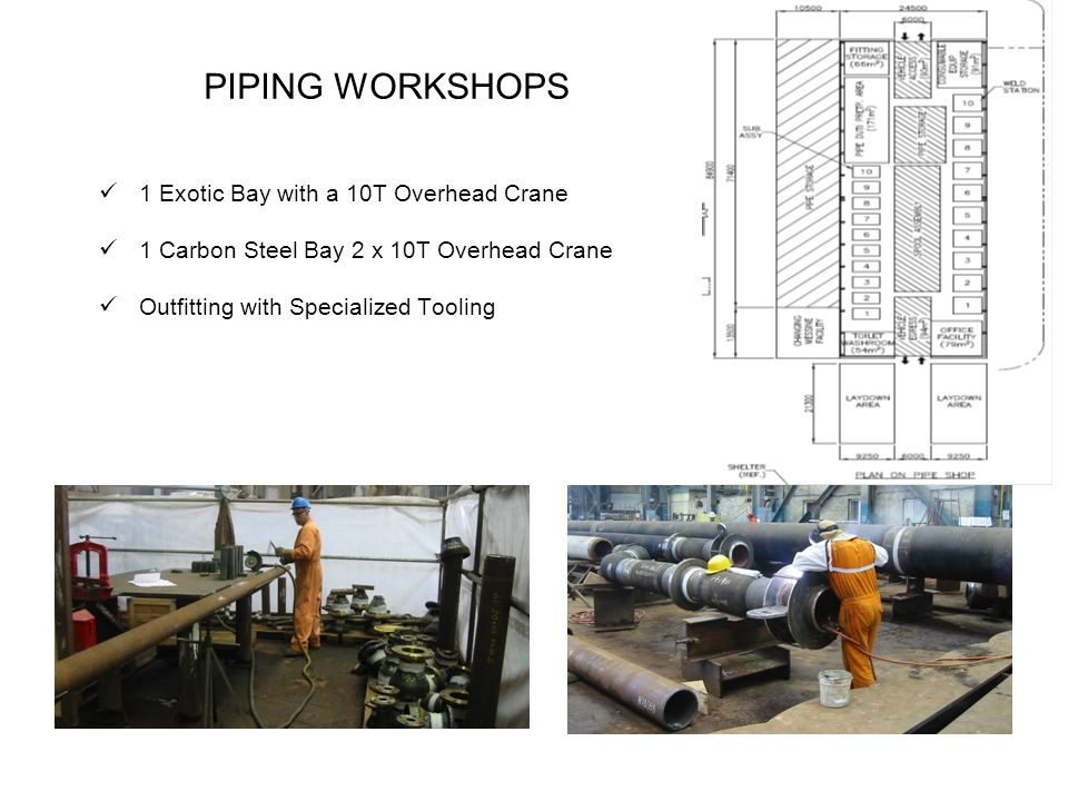 PIPING WORKSHOPS 1 Exotic Bay with a 10T Overhead Crane 1 Carbon Steel Bay 2 x 10T Overhead Crane Outfitting with Specialized Tooling