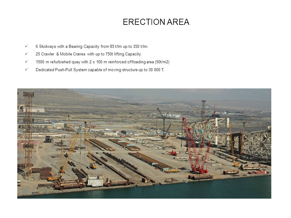 ERECTION AREA 6 Skidways with a Bearing Capacity from 85 t/lm up to 350 t/lm.