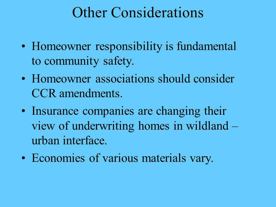 Other Considerations Homeowner responsibility is fundamental to community safety.