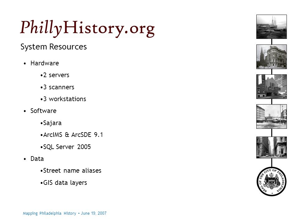 Philadelphia City Archives System Resources Hardware 2 servers 3 scanners 3 workstations Software Sajara ArcIMS & ArcSDE 9.1 SQL Server 2005 Data Street name aliases GIS data layers Mapping Philadelphia History June 19, 2007