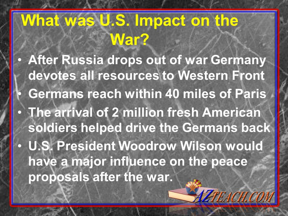 What was U.S. Impact on the War.