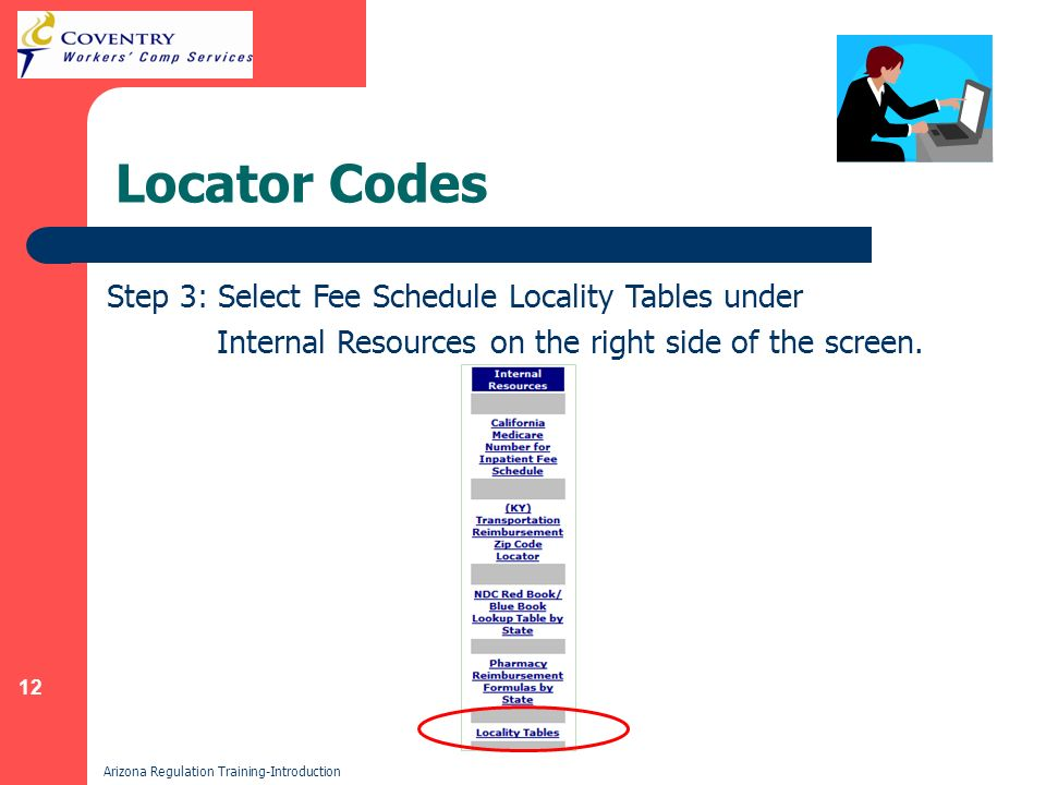 12 Arizona Regulation Training-Introduction Locator Codes Step 3: Select Fee Schedule Locality Tables under Internal Resources on the right side of the screen.