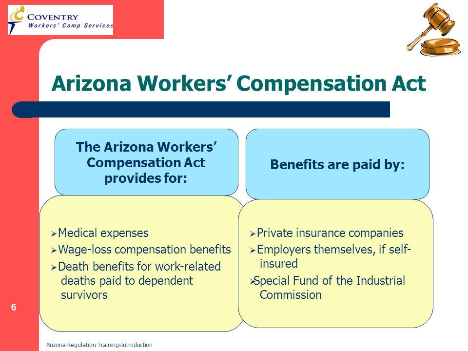 6 Arizona Regulation Training-Introduction Arizona Workers Compensation Act The Arizona Workers Compensation Act provides for: Benefits are paid by: Medical expenses Wage-loss compensation benefits Death benefits for work-related deaths paid to dependent survivors Private insurance companies Employers themselves, if self- insured Special Fund of the Industrial Commission