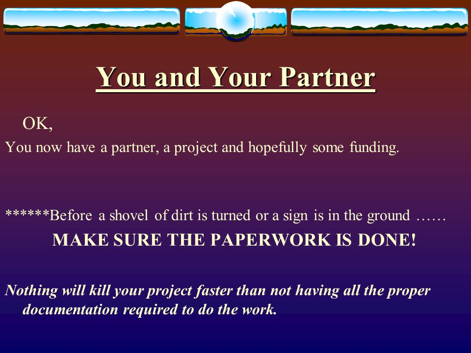 You and Your Partner OK, You now have a partner, a project and hopefully some funding.