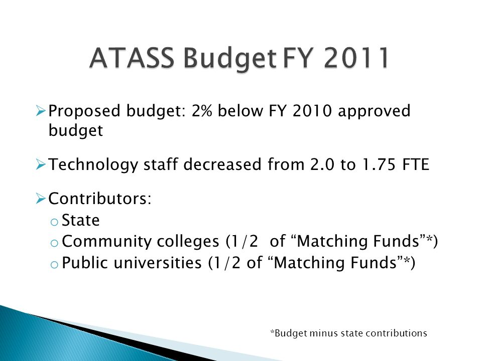 Proposed budget: 2% below FY 2010 approved budget Technology staff decreased from 2.0 to 1.75 FTE Contributors: o State o Community colleges (1/2 of Matching Funds*) o Public universities (1/2 of Matching Funds*) *Budget minus state contributions