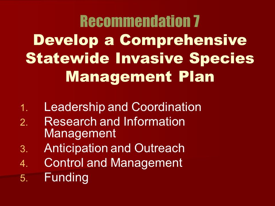 1. 1. Leadership and Coordination Research and Information Management 3.