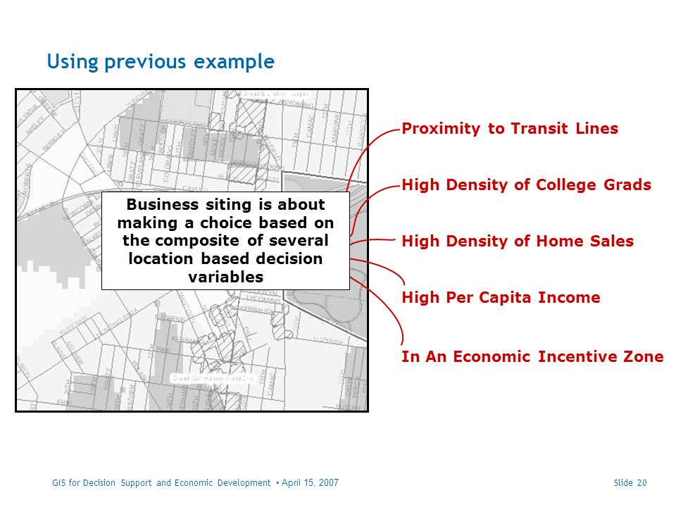 Using previous example Slide 20 Proximity to Transit Lines High Per Capita Income High Density of College Grads High Density of Home Sales In An Economic Incentive Zone Business siting is about making a choice based on the composite of several location based decision variables GIS for Decision Support and Economic Development April 15, 2007