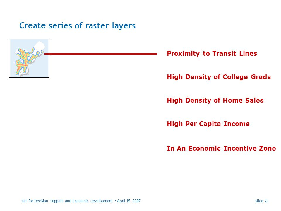 Create series of raster layers Slide 21 Proximity to Transit Lines High Per Capita Income High Density of College Grads High Density of Home Sales In An Economic Incentive Zone GIS for Decision Support and Economic Development April 15, 2007