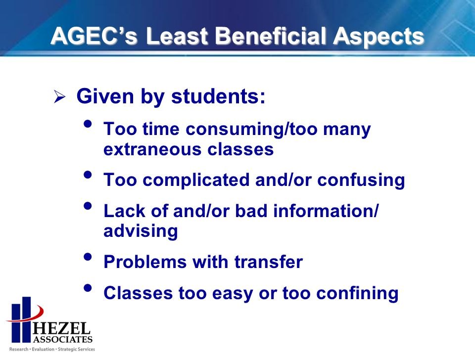 AGECs Least Beneficial Aspects Given by students: Too time consuming/too many extraneous classes Too complicated and/or confusing Lack of and/or bad information/ advising Problems with transfer Classes too easy or too confining