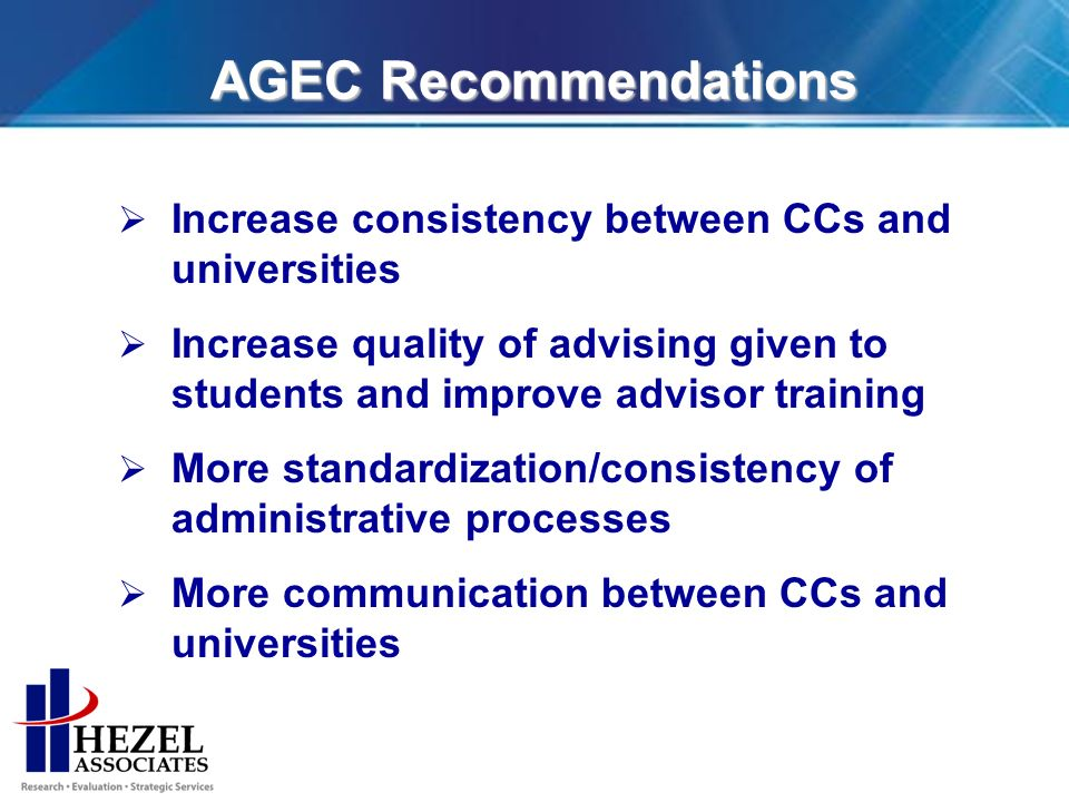 AGEC Recommendations Increase consistency between CCs and universities Increase quality of advising given to students and improve advisor training More standardization/consistency of administrative processes More communication between CCs and universities