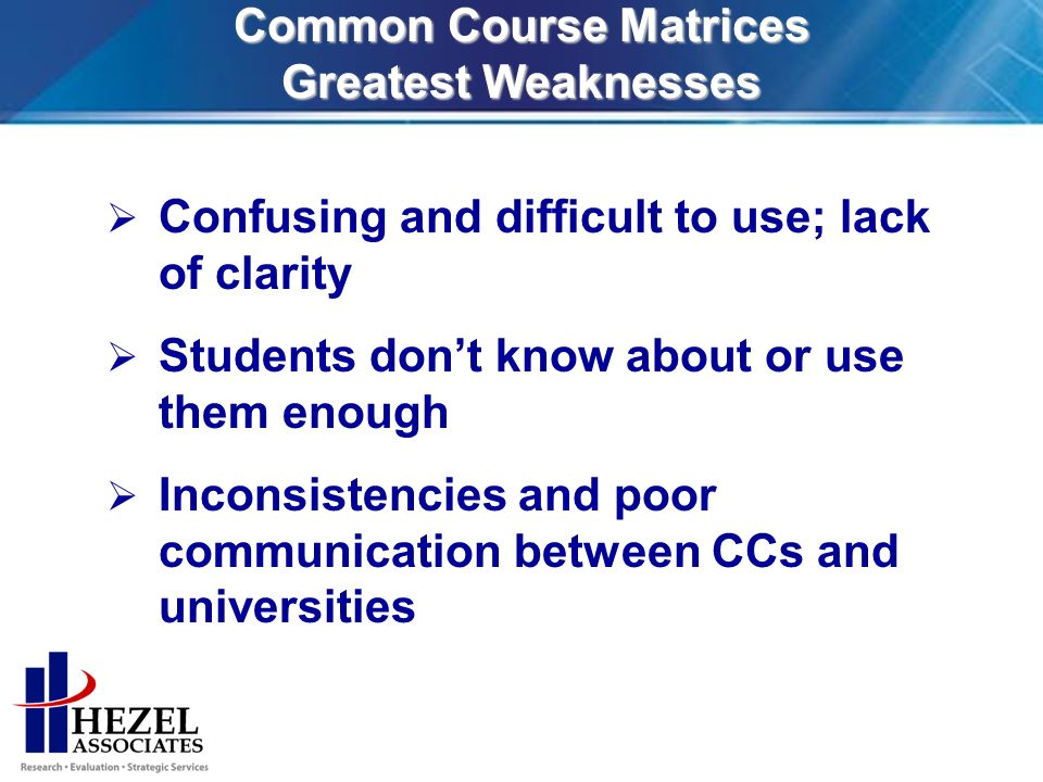 Common Course Matrices Greatest Weaknesses Confusing and difficult to use; lack of clarity Students dont know about or use them enough Inconsistencies and poor communication between CCs and universities