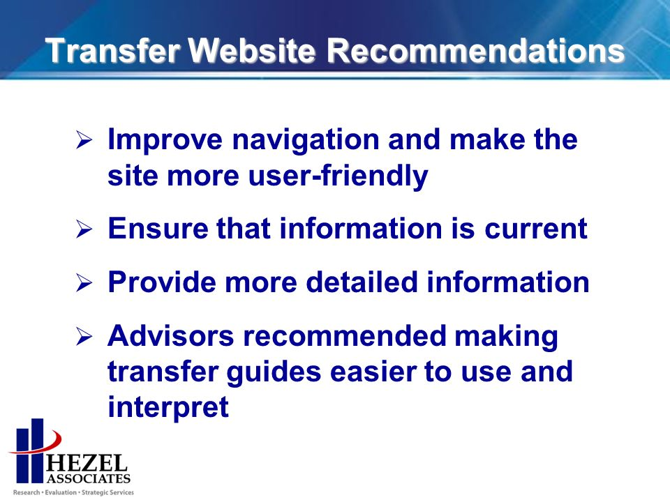 Transfer Website Recommendations Improve navigation and make the site more user-friendly Ensure that information is current Provide more detailed information Advisors recommended making transfer guides easier to use and interpret