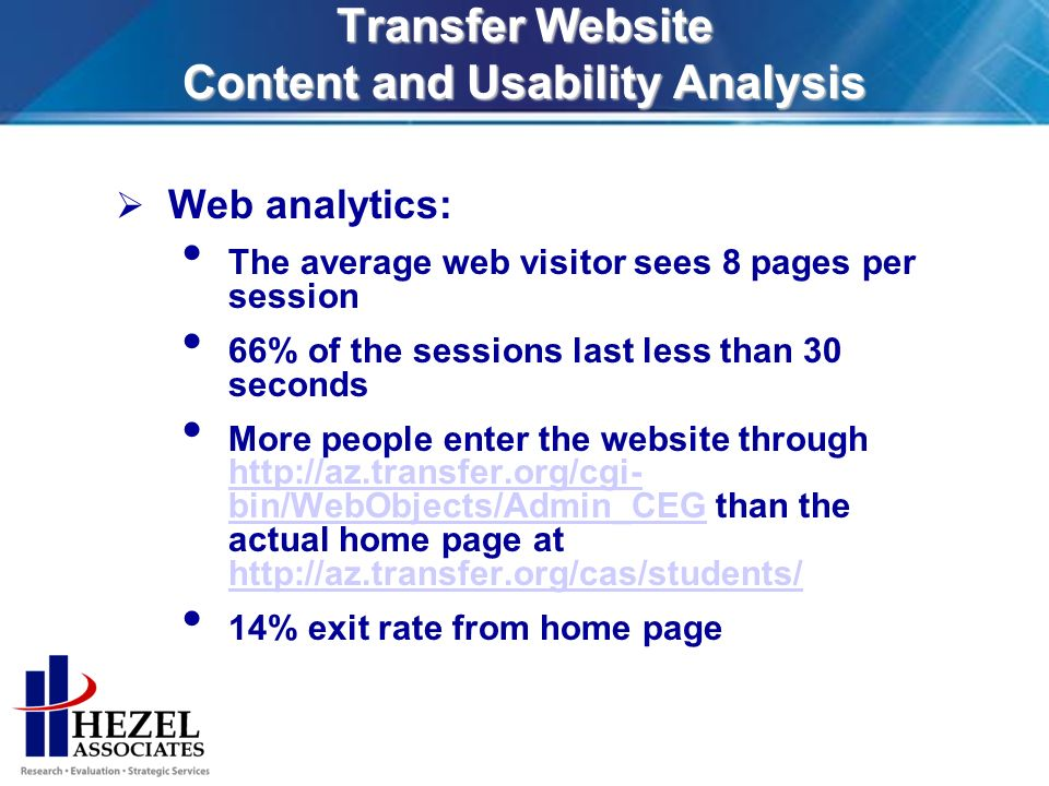 Transfer Website Content and Usability Analysis Web analytics: The average web visitor sees 8 pages per session 66% of the sessions last less than 30 seconds More people enter the website through   bin/WebObjects/Admin_CEG than the actual home page at     bin/WebObjects/Admin_CEG   14% exit rate from home page