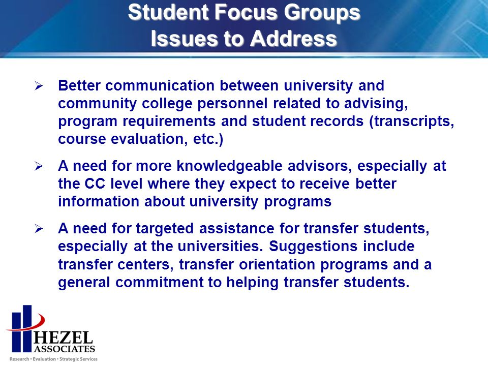 Student Focus Groups Issues to Address Better communication between university and community college personnel related to advising, program requirements and student records (transcripts, course evaluation, etc.) A need for more knowledgeable advisors, especially at the CC level where they expect to receive better information about university programs A need for targeted assistance for transfer students, especially at the universities.