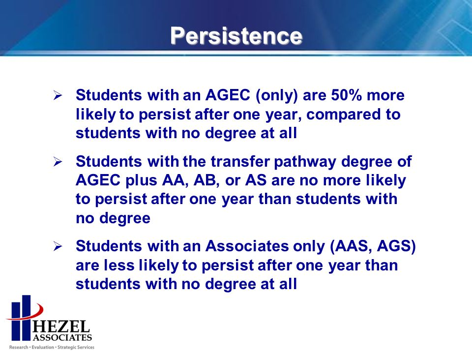 Persistence Students with an AGEC (only) are 50% more likely to persist after one year, compared to students with no degree at all Students with the transfer pathway degree of AGEC plus AA, AB, or AS are no more likely to persist after one year than students with no degree Students with an Associates only (AAS, AGS) are less likely to persist after one year than students with no degree at all