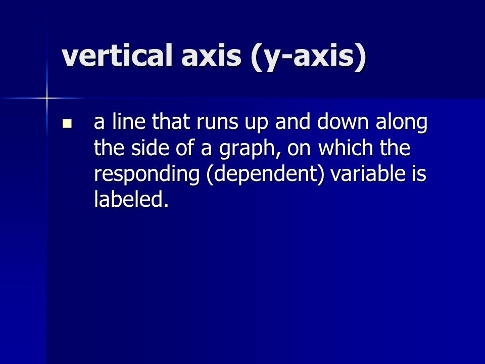 vertical axis (y-axis) a line that runs up and down along the side of a graph, on which the responding (dependent) variable is labeled.