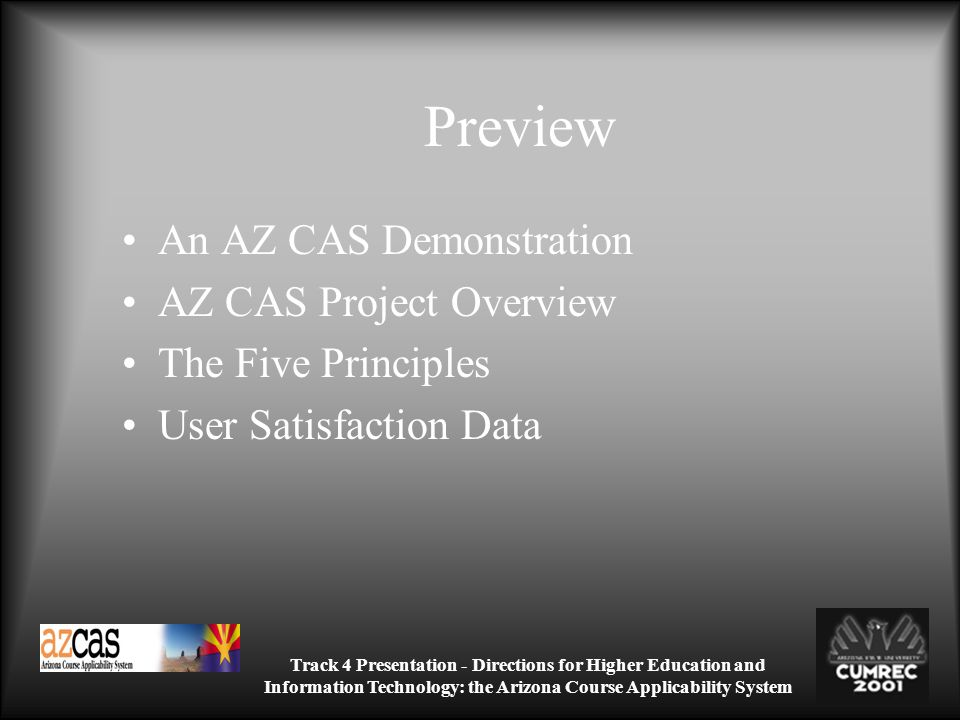 Track 4 Presentation - Directions for Higher Education and Information Technology: the Arizona Course Applicability System Preview An AZ CAS Demonstration AZ CAS Project Overview The Five Principles User Satisfaction Data