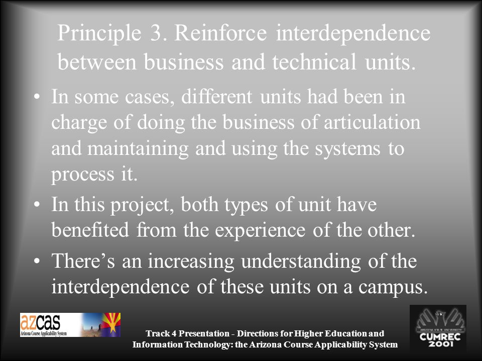 Track 4 Presentation - Directions for Higher Education and Information Technology: the Arizona Course Applicability System Principle 3.