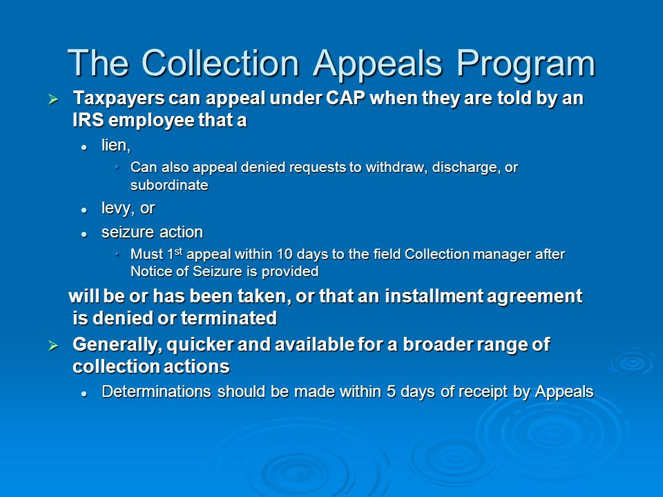 Appealing Collection Actions Traditional Appeals Traditional Appeals Denied OICs, Trust Fund Recovery Penalties, Other Penalties Denied OICs, Trust Fund Recovery Penalties, Other Penalties Collection Appeals Program Collection Appeals Program Pub.