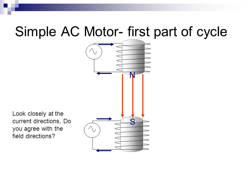 Simple AC Motor- first part of cycle N S Look closely at the current directions, Do you agree with the field directions