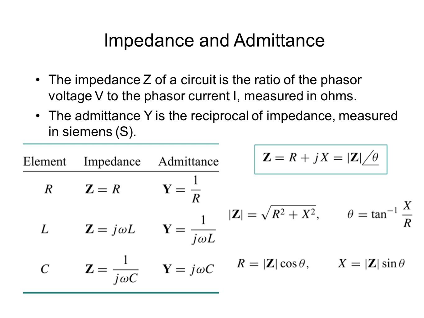 Impedance and Admittance The impedance Z of a circuit is the ratio of the phasor voltage V to the phasor current I, measured in ohms.