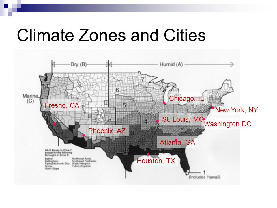 Climate Zones and Cities Atlanta, GA Chicago, IL Washington DC Fresno, CA Houston, TX New York, NY Phoenix, AZ St.