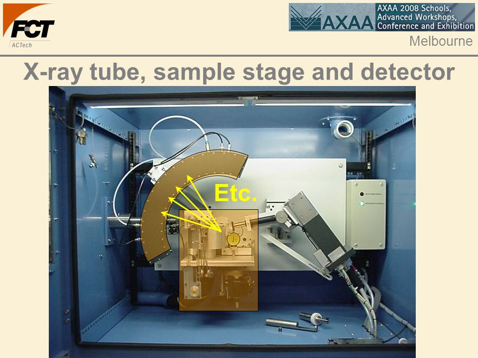 Melbourne X-ray tube, sample stage and detector Etc.
