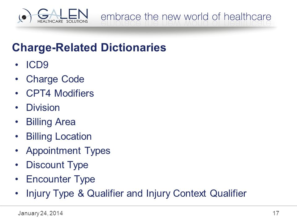 Charge-Related Dictionaries ICD9 Charge Code CPT4 Modifiers Division Billing Area Billing Location Appointment Types Discount Type Encounter Type Injury Type & Qualifier and Injury Context Qualifier January 24,
