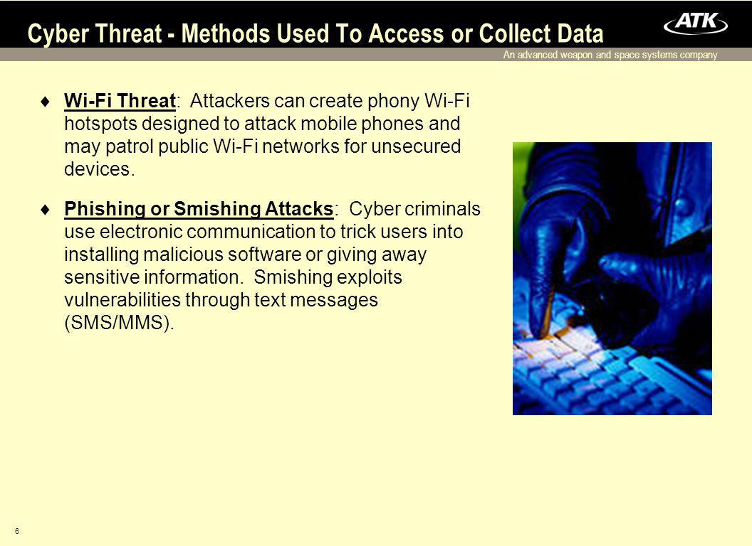 An advanced weapon and space systems company 6 Wi-Fi Threat: Attackers can create phony Wi-Fi hotspots designed to attack mobile phones and may patrol public Wi-Fi networks for unsecured devices.