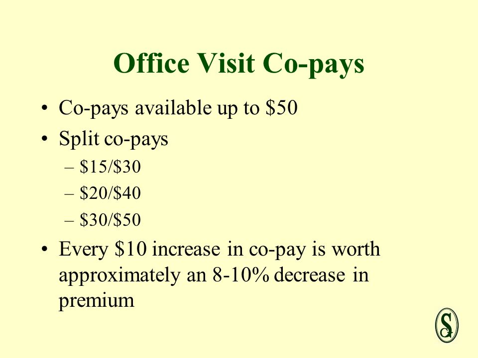 Office Visit Co-pays Co-pays available up to $50 Split co-pays –$15/$30 –$20/$40 –$30/$50 Every $10 increase in co-pay is worth approximately an 8-10% decrease in premium