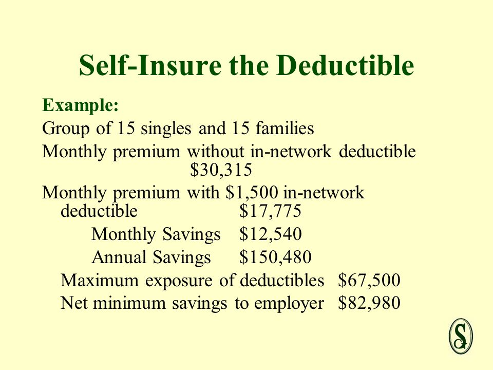 Self-Insure the Deductible Example: Group of 15 singles and 15 families Monthly premium without in-network deductible $30,315 Monthly premium with $1,500 in-network deductible$17,775 Monthly Savings$12,540 Annual Savings$150,480 Maximum exposure of deductibles$67,500 Net minimum savings to employer$82,980