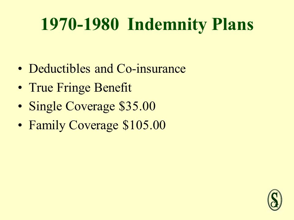 Indemnity Plans Deductibles and Co-insurance True Fringe Benefit Single Coverage $35.00 Family Coverage $105.00