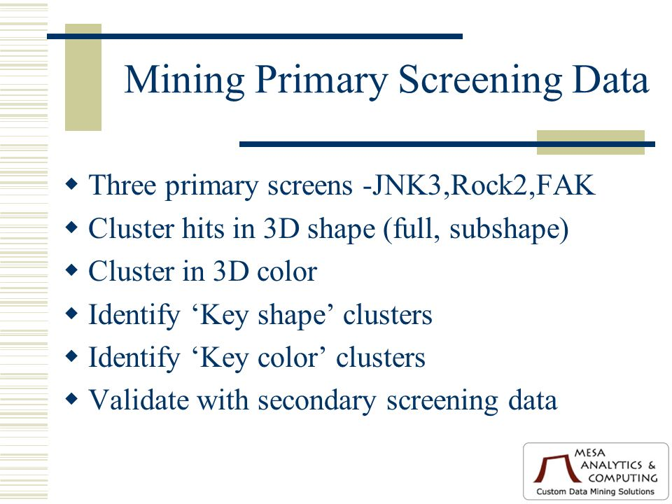 Mining Primary Screening Data Three primary screens -JNK3,Rock2,FAK Cluster hits in 3D shape (full, subshape) Cluster in 3D color Identify Key shape clusters Identify Key color clusters Validate with secondary screening data