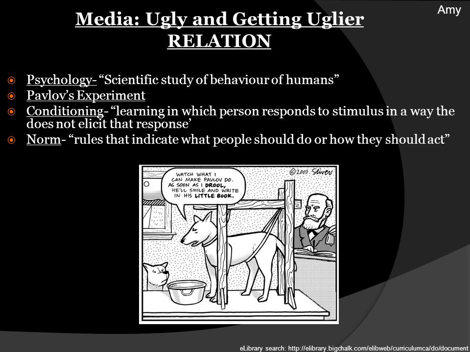 Media: Ugly and Getting Uglier RELATION Psychology- Scientific study of behaviour of humans Pavlovs Experiment Conditioning- learning in which person responds to stimulus in a way the does not elicit that response Norm- rules that indicate what people should do or how they should act Amy eLibrary search: