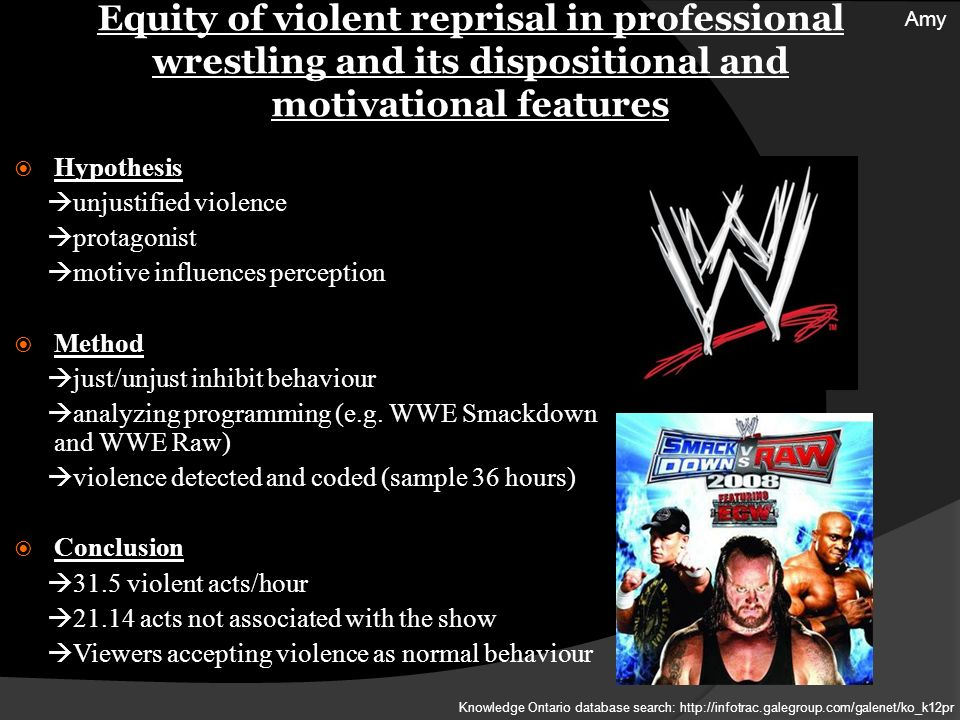Equity of violent reprisal in professional wrestling and its dispositional and motivational features Hypothesis unjustified violence protagonist motive influences perception Method just/unjust inhibit behaviour analyzing programming (e.g.