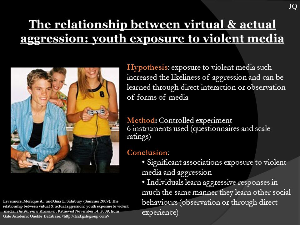 The relationship between virtual & actual aggression: youth exposure to violent media Levermore, Monique A., and Gina L.