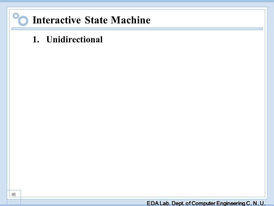 EDA Lab. Dept. of Computer Engineering C. N. U. 95 Interactive State Machine 1.Unidirectional