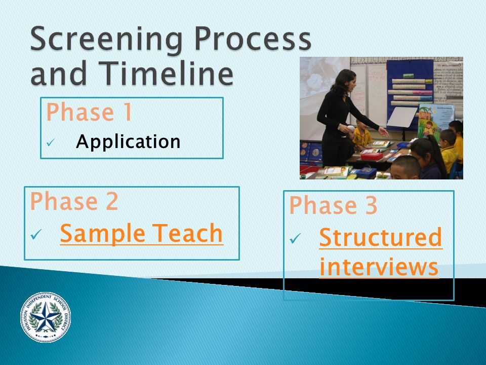 Phase 1 Application Phase 2 Sample Teach Phase 3 Structured interviews Structured interviews