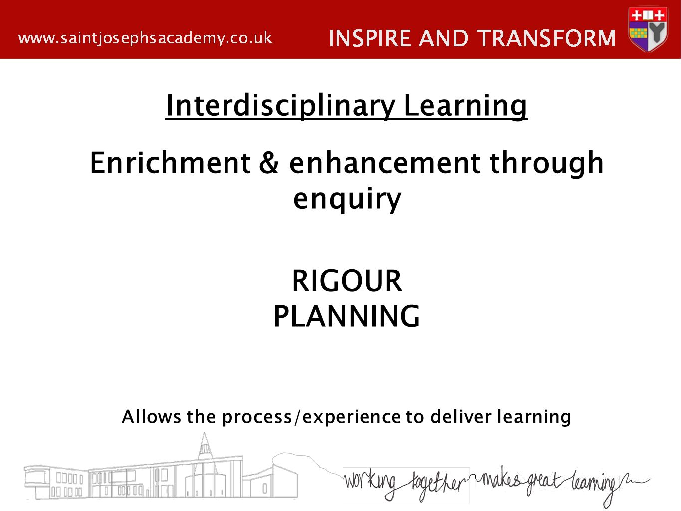 Interdisciplinary Learning Enrichment & enhancement through enquiry RIGOUR PLANNING Allows the process/experience to deliver learning