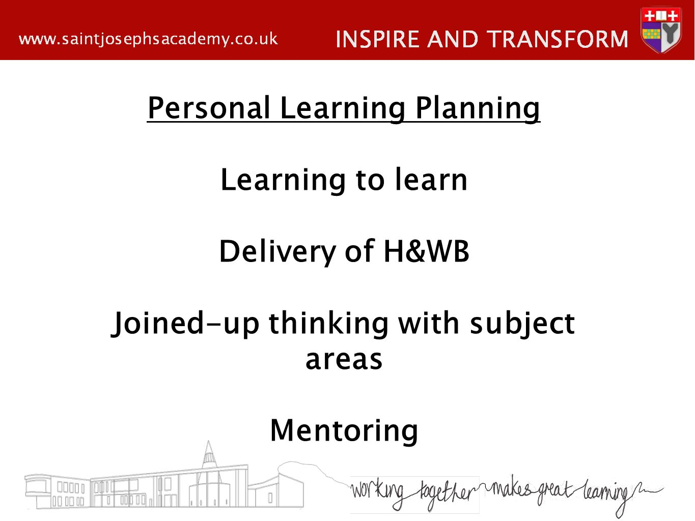 Personal Learning Planning Learning to learn Delivery of H&WB Joined-up thinking with subject areas Mentoring