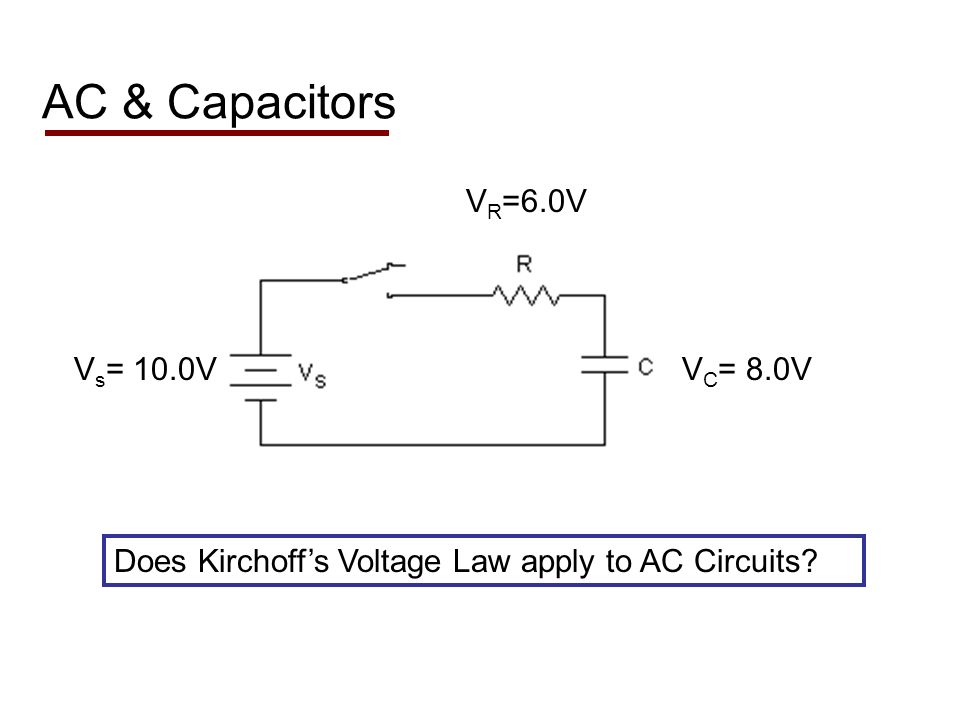 AC & Capacitors Does Kirchoffs Voltage Law apply to AC Circuits V R =6.0V V C = 8.0VV s = 10.0V